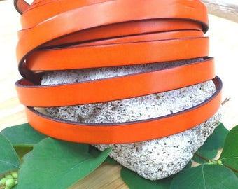 orange high quality 10mm flat leather