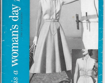 WOMAN'S DAY 5071 UNCUT Size 16 Bust 34 1950's Two-in-One Dress Full Circle Flared Slim Pencil Skirt Tailored Sleeveless Blouse Pattern