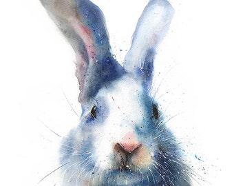 RABBIT ART PRINT - rabbit print, bunny print, rabbit watercolor, bunny painting, rabbit gift, rabbit painting, bunny art, white rabbit