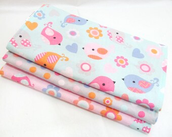 Sweet Birds in Pastel - Burp Cloth Gift Set for Baby Girl - 100% Cotton Burp Pads