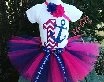 Pink and Navy Blue Anchor Tutu Set