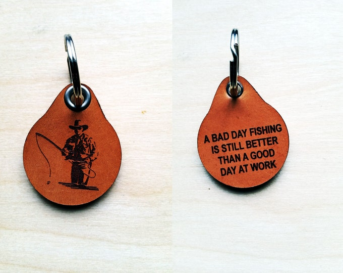 Laser engraved Fly Fishing Leather Key Fob