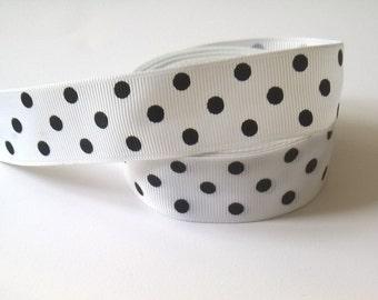 1 Yard Of Black And White Polka Dot Grosgrain Ribbon