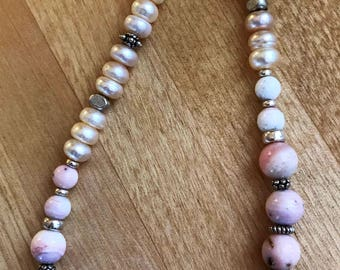 Pink Peruvian Opal and Freshwater Pearl Necklace