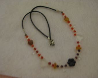 Satin cord, beaded necklace