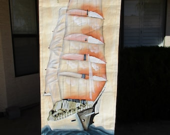 Vintage Tall Clipper Ship Painting on Scroll Canvas Original Nautical Wall Art Hanging
