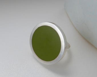 Pesto Green Cocktail Ring - Round Green Ring - Minimalist Jewellery - Pop of Colour - Pop Ring