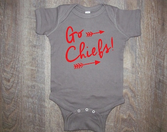 Super cute Chiefs baby onesie soft Football Kansas City love
