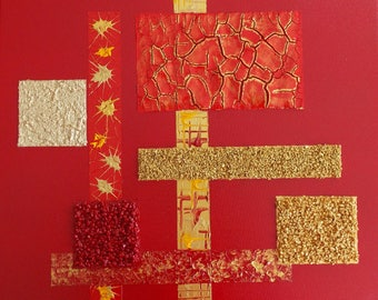 """Modern abstract painting red, gold gilt """"Procyon"""""""
