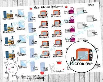 Clean Kitchen Appliances - Planner Stickers for Erin Condren, Happy Planner, Kikkik, Filofax (S122)
