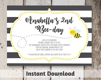 Bee Invitation Download - Printable Bee Day Invitation - Bee First Birthday Party Template - 1st - Instant Digital File Editable PDF