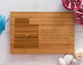 Utah Personalized Cutting Board  Chef Dad Mom  Initials Home State Wedding Anniversary Kitchen Decor  Family Monogram Wood