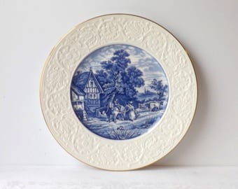 Coalport Blue White Plate, Antique Collectible Plate, Kings Ware Pastoral Flow Blue Charger, Cabinet or Wall Display, Made in England