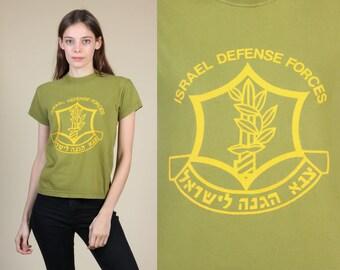 Vintage Israel Defense Forces T Shirt // 80s Military Olive Drab Israeli Army Tee