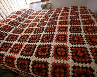 Crochet chunky blanket, grannysquare blanket  100% pure merino wool blanket, crochet blanket  - celosia orange and brown