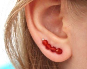 Ear climber earrings, Sterling silver ear climber, Red ear climber earrings, Silver earrings, Ear jackets, Ear sweeps, Silver ear crawler