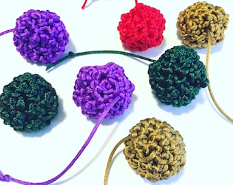 Nylon jingle bell Cat Toy- cherry red  gold green purple  - my cats love these - handmade - crocheted and hand sewn - golfball sized