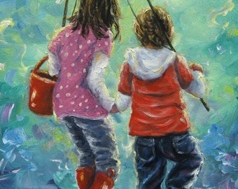 Fishing With Sister Art Print, big sister little brother, kids fishing, two sisters fishing paintings, wall art, boy, girl, Vickie Wade Art