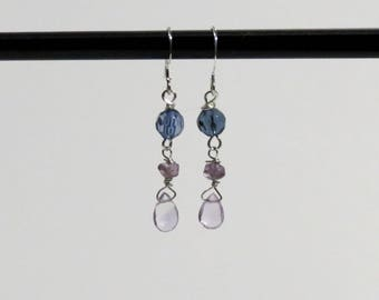 Lavender Amethyst gemstone and blue glass earrings.   #EAR-208
