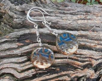 CZECH GLASS and Sterling Silver Filled Drop Earrings, Blue Earrings, Boho Jewelry