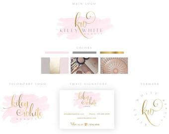 Branding Package,MakeupLogo,Photography Logo,Pink Watercolor,Interior Design Logo,Gold Foil,Fashion Blog,Email Signature,Chic,Brush,Monogram