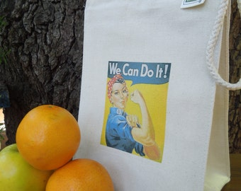 Recycled cotton lunch bag - Canvas lunch bag - Small project bag - Rosie - Rosie the riveter - We can do it!