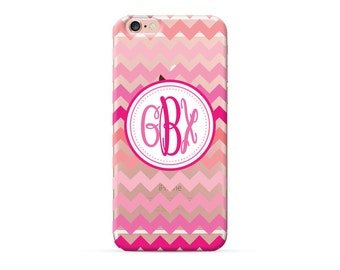 iPhone 8 Case, iPhone 8 Plus Case, iPhone X Case, iPhone 7 Case, iPhone 6 case, Monogram, pink chevron personalized phone case, clear case