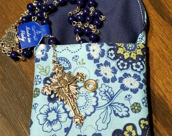 Rosary / Coin Fabric Purse with Metal Snap Closure - Blue, Green and Silver Floral Design with Solid Navy Blue Interior