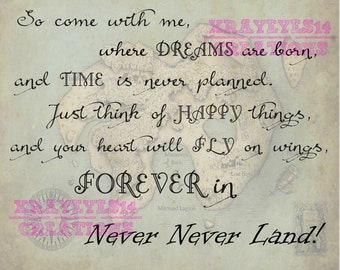 """So Come with me...""""  Peter Pan Quote Printable"""