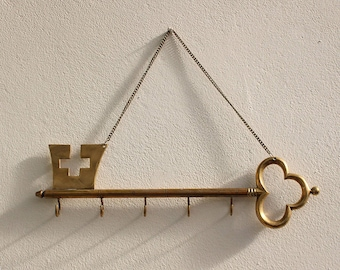 A Large Brass Key Shaped Wall Hanging Key Storage Key Hook Rack on Brass Chain Jewelry Display