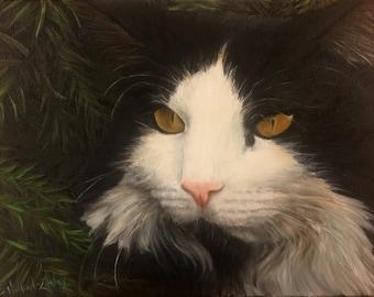 """12""""x16"""" Custom Pet Portrait cat portrait - custom painting - cat lover - fine art portrait"""