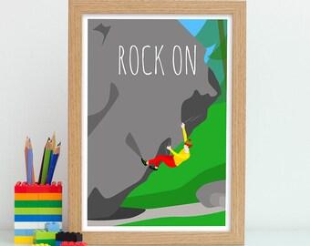 Bouldering Gift, Rock On Print, Rock Climbing Gift, Rock Climber Gift, Gift For Adventurer, Adventure Print, Rock On Poster, Outdoors Art
