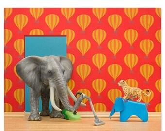 35% OFF SALE Nursery decor animal art print with elephant: Tickle Trunk