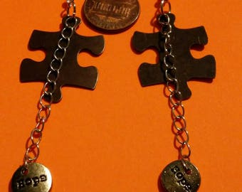Puzzle piece and hope earrings (Autism awareness earrings)