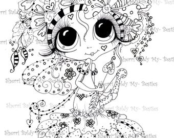 INSTANT DOWNLOAD Digital Digi Stamps Big Eye Big Head Dolls Besties Zen art img254 44 Besties TM By Sherri Baldy
