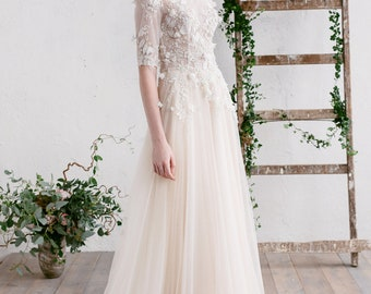 3D Floral Lace Wedding Dress , Bridal Gown , Tulle Wedding Dress , Long Sleeve Wedding Dress, Gown with Train , Champagne Nude Gold - CAMILA