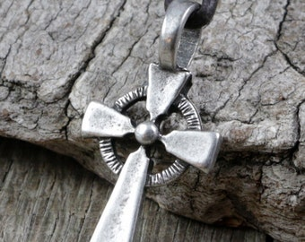 Mens Cross Necklace, Celtic Cross Necklace, Leather Necklace, Celtic Pendant, Pewter, Metal, Brown Leather Cord, Surfer Necklace, Masculine