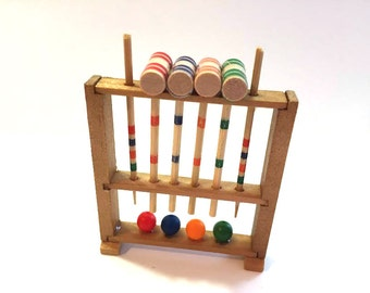 Miniature Croquet Set Dollhouse Mallets Seperate 1:12 Scale Yard Diorama Shadow Box Accessories - 346