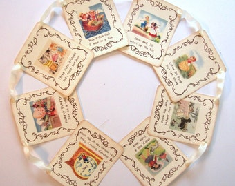 Mother Goose Nursery Rhyme Banner, Vintage Inspired, Storybook Theme, Baby Shower, Birthday Party, Bunting, Personalized, Party Decoration