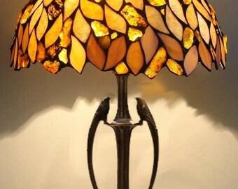 Tiffany Amber Lamp 12'', Tiffany Desk Lamp, Tiffany Lamp, Desk Lamp, Lamp, Steained Glass Lamp, Baltic Amber