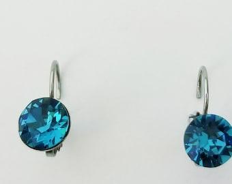 Blue Zircon CRYSTALIZED Swarovski element earrings