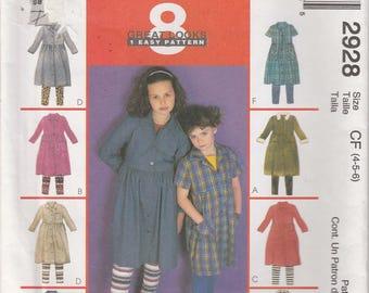 Girls Leggings Pattern Shirt Dress Tunic Girls Size 4 - 5 - 6 Uncut McCalls 2928