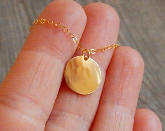 Gold goin necklace, Delicate coin necklace, Hand stamped or Blank, Disc gold necklace, Dainty jewelry, Coin necklace