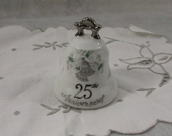 Vintage Porcelain Bell 25th Anniversary Bell Commemorative Memento Keepsake Lefton Japan Collectibles Numbered Silver Anniversary
