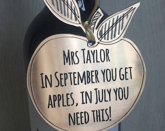 Quirky personalised metallic bottle tag for teacher gift perfect for wine or spirits