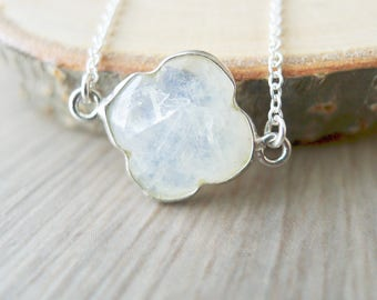 Moonstone Necklace, Sterling Silver, June Birthstone, June Necklace, June Jewelry, Moonstone Flower, Simple Stone Necklace, Modern Necklace
