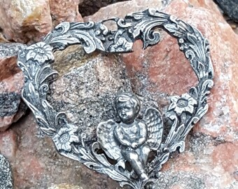 Pewter Cupid Heart~Incised Pewter heart~Ornate Heart~Vintage Valentine~Angel resting in a heart~Valentine Ornament/Gift~by JewelsandMetals.