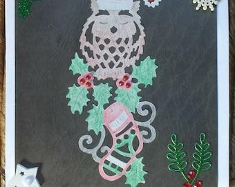 Christmas card, Handmade card, Christmas owl card, Blank card, Owl, Christmas