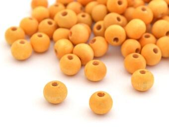 100 yellow round wood beads 8 mm