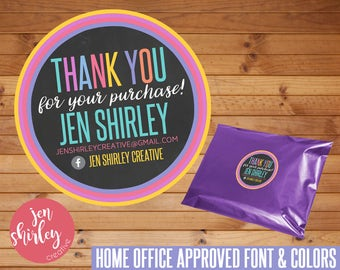 """SALE! CUSTOM Thank You Sticker, Printable Stickers, 2"""" Circle, Printable, Print Your Own, Small Business, Direct Sales, Packaging, LLR"""
